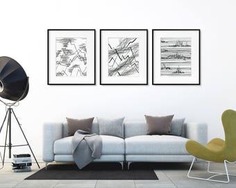 Abstract Mountain Print Art Set. Line drawing print. Nature art. Wall art set. Modern home decor wall posters. Modern prints. Minimalist art