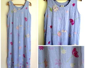 Linen Dress loose sundress maxi dress swimsuit cover up long beach dress floral print vintage 80s 90s periwinkle blue plus size women large