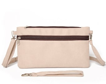 Wristlet wallet clutch purse bag in beige ,Travel wallet,small crossbody bag purse  for holding smartphone,cash, credit cards, coins,