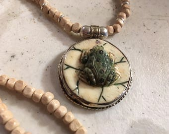 Cream  Necklace - Sterling Silver Jewellery - Frog Pendant Jewelry - Beaded