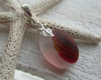 Red & Amber End Of Day Sea Glass Sterling Silver Necklace, Rare Sea Glass, Seaham Sea Glass, Silver Jewellery