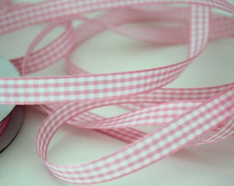 """3/8"""" Gingham Ribbon - Light Pink and White - 4 yards"""