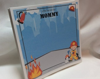 Personalized Little Fireman Lunchbox Lovey Note Pad