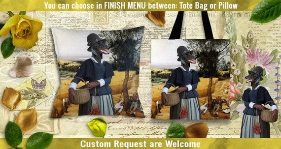 Greyhound Pillow or Tote Bag/Greyhound Art/Greyhound Portrait/Dog Tote Bag/Dog Pillow/Dog Art/Custom Dog Portrait/Greyhound by Nobility Dogs