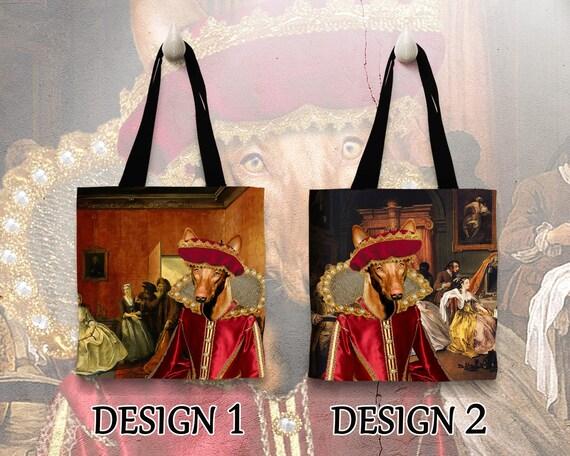 Pharaoh Hound Tote Bag. Pharaoh Hound Bag. Pharaoh Hound Portrait. Personalized Dog Tote Bag. Custom Dog Portrait by Nobility Dogs