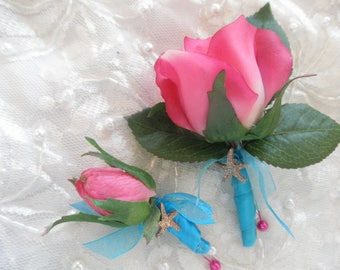 Set of (3, 4, 5 or more) HOT PINK ROSEBUD Boutonnieres for Wedding, prom, Junior usher, ring bearer, child. Fuschia Watermelon Turquoise