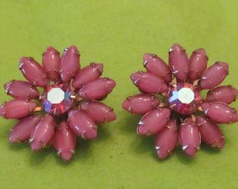 Weiss Pink Glass Flower Earrings with Center Pink Rhinestones - Wedding/Summer Party