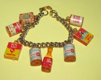 Vintage Grocery  Charm Bracelet - Ritz Crackers/Campbell Soup/Beer/Coffee/Dr,Pepper