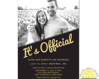 It's Official elopement reception invitation glitter - diy printable file by YellowBrickStudio