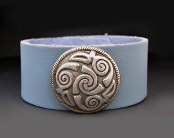 Leather Celtic Triple Spiral Bracelet / Gifts for Teens / Gifts for Her / Graduation Gift / Protection Bracelet Charm / Infinity Knot Symbol