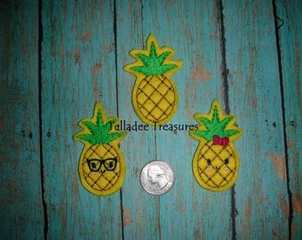 Pineapple feltie with yellow felt - Great for Hair Bows, Reels, Clips and Crafts - Plain, Geek Glasses or  smiling face with bow