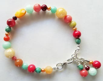 Colorful multi gemstone beaded bracelet with silver chain