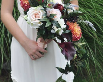 Wedding Bouquet, Wildflower Bouquet made with Marsala Ranunuculus, Dahlias, Lavender, Roses, and Ruscus with Berries and Eggplant Callas.