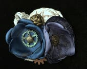 Blue Steampunk Fascinator- Steampunk Wedding Fascinator- Steampunk Costume- Steampunk Clothing- Steampunk Hat- Steampunk Hair Clip