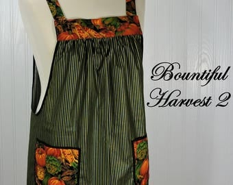Bountiful Harvest 2 Pinafore Apron, no tie apron, all day apron, READY TO SHIP, limited edition for Thanksgiving using out-of-print fabric