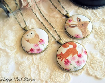 Animal Jewelry, Owl Necklace, Fox Necklace, Deer Necklace, Woodland Animals, Button Jewelry, Gifts for Her, Valentine Jewelry, Animals, Love