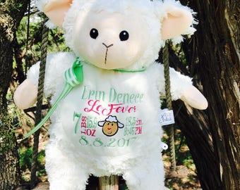 Personalized lamb etsy exclusive personalized lamb stuffed animalkeepsake with name birth announcement custom baby gift negle Image collections