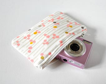 Women's metallic gold protective gadget padded camera make up cosmetics pouch abstract line spot print in grey, pink and white.