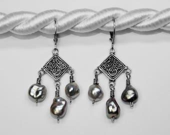 Tahitian Black Pearl Chandelier Earrings in Silver