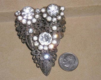 Vintage Art Nouveau Pot Metal Clear Rhinestone Dress Clip Filigree 1920's Jewelry 6057