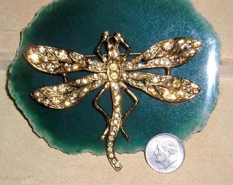 Vintage Signed Jeanne Dragonfly Brooch With Golden Colored Rhinestones 1970's Pin Jewelry 11107