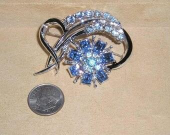 Signed Coro Vintage Blue Rhinestone Brooch With Black Enamel 1950's Jewelry 11232