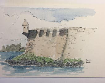 San Juan from Puerto Rico, Watercolor