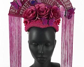 Pink Butterfly Fan Headdress