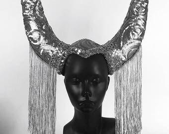 Silver Horns Headdress Headpiece