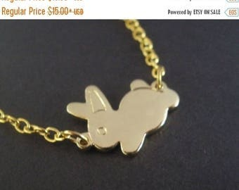 SALE SALE Gold Necklace, Rabbit Necklace, Bunny Necklace, Gold Bunny, Gold Rabbit, Rabbit Pendant, Bunny Pendant, Small Bunny, Tiny, Animal