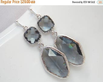 SALE Gray Earrings, Grey Earrings, Dangle, Drop, Silver, Charcoal, Wedding, Bridesmaid Earrings, Bridal Earrings Jewelry, Bridesmaid Gift