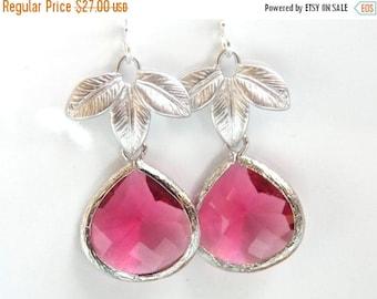 SALE Fuschia Earrings, Fuchsia Earrings, Pink, Glass, Leaf, Leaves, Silver, Bridesmaid Earrings, Bridal Earrings Jewelry, Bridesmaid Gifts
