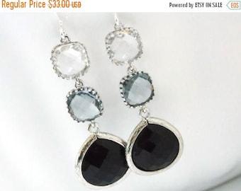 SALE Glass Earrings, Clear Earrings, Gray Grey, Black Earrings, Silver, Bridesmaid Jewelry, Bridesmaid Earrings, Bridal Jewelry, Bridesmaid