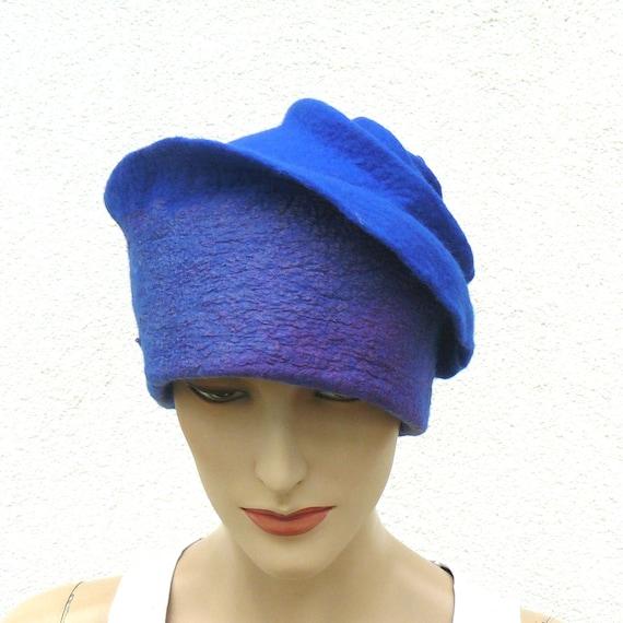 Felted Hat Felt Hat Nunofelt Cap, women's hat, Blue merino wool  felt hat