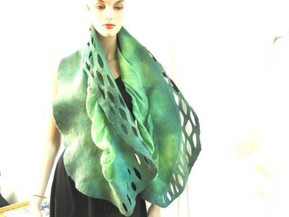 Clothing Gift, Nuno felted shawl, green painted scarf, wool and silk