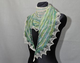 Lime and cream summer scarf, Striped hand knit shawl, Woman's Knit Scarf, Ecru and Green Knit Scarf, Knit Lace Scarf in Greenery