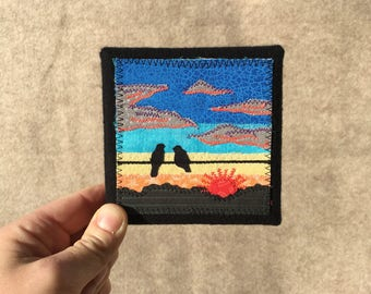 Dusk birds on the wire 4x4 inches, mini canvas, original sewn fabric artwork, handmade, freehand appliqué, ready to hang canvas