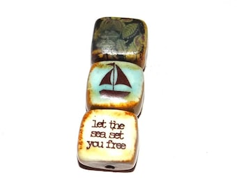 Ceramic Quote Bead Set Cube Beads Handmade Sail Boat Sea