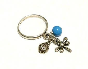Baubling Beads Sterling Silver Dangle Charm Ring - Dragonfly