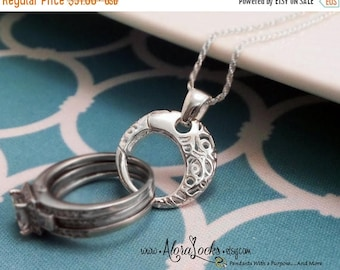 SUMMER SALE AloraLocks THE Original Round Lattice Filigree Circle  Wedding / Engagement Ring or Charm Holder Pendant / Sterling Silver