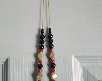Semiprecious stone necklace, stone and glass necklace, red green and black necklace