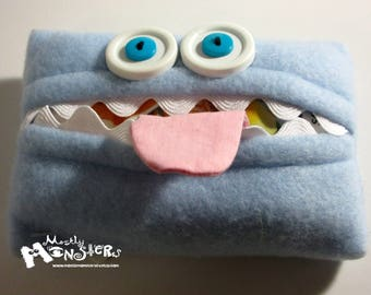 Kleenex Kreature; Tissue Holder; Pocket Tissue; Travel hankie;  back to school; purse pal; sneeze saver; tissue cover; blue tissue monster