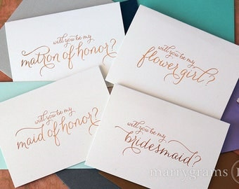 ROSE GOLD FOIL Be My Bridesmaid Card Set, Maid of Honor, Flower Girl, Cards to Ask Bridal Party Cute Blush, Gold, Silver CS01 (Set of 5)