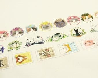 Cat Diary - Japanese Washi Masking Tape Set - 3 rolls - 25mm wide - 5.5 Yard