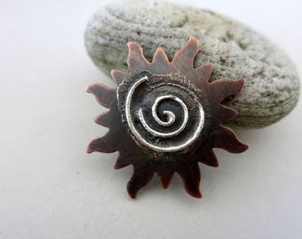 Melted Silver on Copper Sun, Reticulated Silver, Mixed Metal Pendant, Lot 1