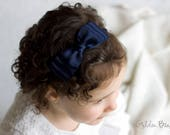 Girl Headbands, Baby Headbands, Hair bands, Flower Girl Headband, Headband, Newborn Headbands, Ella Navy Bow Headband or Clip - Golden Beam