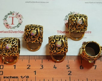5 pcs per pack 14x13mm with 10mm opening Hole 8x5mm loop Textured Rhinestone Bail Antique Gold Pewter