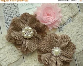 SALE BLUSH PINK Bridal Garter Set - Keepsake & Toss Wedding Garters - Burlap Flower Garters - Ivory Lace Garter - Rustic Country Wedding