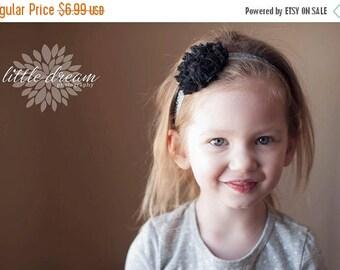 SALE Black Sparkle Chiffon Flower on Silver Sparkle Elastic Headband - Newborn Baby Girl Adult - Elegant Wedding Fancy Easter