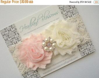 SALE SHOP BEST Seller - Blush Pink and Ivory Chiffon Flower with Rhinestone Pearl Lace Headband - Newborn Baby - Wedding Flower Girl - Photo